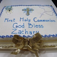 First Communion Cake Butter cream frosting with Vanilla pastry cream fill