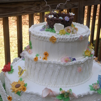 "Summer Love My cake ""Summer Love"" perfect for that outdoor garden wedding. Rustic, colorful, full of flowers ,humming birds and a chocolate..."
