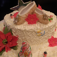 Christmas Holiday Cake This is a cake for a Holiday party / Christening celebration. The slippers represent the Christening.