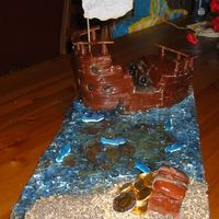 Pirate Ship Cake This was a pirate ship cake for son's 6th birthday. Had problems with the fondant, too crumbly, so added glycerine and more...