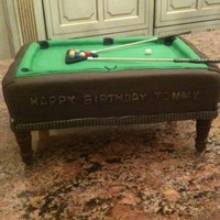 "Pool Table Cake 12"" x 18"" rectangle cake with 3 - 2"" cake layers. Wood base with legs (you can get from the hardware store) pool sticks are..."