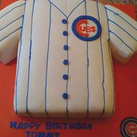 Chicago Cubs Jersey Cake My second fondant cake, made with yellow cake, fresh strawberries, custard and whipped cream.