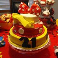 Minnie Mouse Cake!  Better picture of the Minnie Mouse cake. It took me a while to get the photo uploading down. This is my first layered cake and also my...