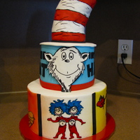 Dr. Seuss cake is 6 over 9 covered in buttercream.....hat is rkt covered in fondant, images are edible images enhanced with edible markers.......and...