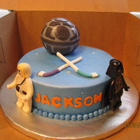 Mini Star Wars Cake buttercream w/ fondant accents.......death star is styro ball covered with fondant.....figures are fondant/tylose mix..........child was...
