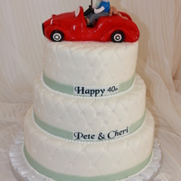 40Th Anniversary Cake the couple makes the golf cars sculpted on top.. all quilted cake