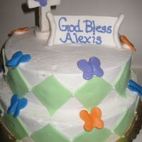 "Baptism Cake Customer wanted non-trad. pastel colors. Cake is a ""funfetti"" like cake, with lemon and raspberry filling. Fondant accents,..."