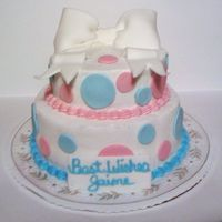 Pink & Blue Baby Shower This cake was for a co-worker who is pregnant and did not want to know the sex of the baby. It is white buttercream, pink and blue fondant...