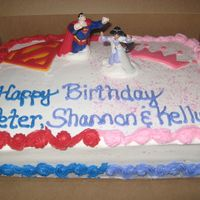 Superman Vs. Princess! This cake was for a customer who was celebrating her husbands, and nieces birthday on the same day. So, I did what they both like the most...