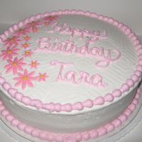 White Cake W/white Buttercream, Fresh Strawberry Filling And Pink Fondant Accents.