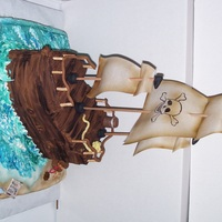 Pirate Ship Ship is made out of cake carved then covered in butter cream and fondant. The sails are made of rice paper