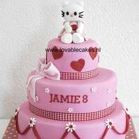 Hello Kitty In Pink/red   Jamie turned 8, and wanted a Hello Kitty cake. I love this color combination,