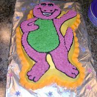 Barney BARNEY WAS CAKE #2 FOR MY DAUGHTERS 1ST BIRTHDAY. HE WAS MADE USING A WILTON SHAPED CAKE PAN (DISCONTINUED) THAT I FOUND ON EBAY. FROSTED...
