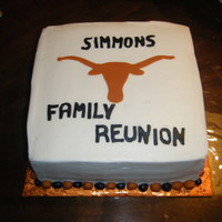 Longhorns Family Reunion This is a marble cake with chocolate filling. Cover in buttercream with fondant longhorn and letters.