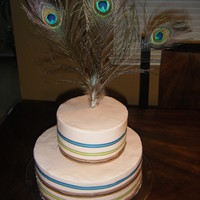 Peacock Feather Birthday Cake Cookies and cream cake with buttercream frosting. Decor with ribbon and peacock feathers.
