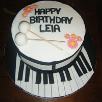 Piano And Drum Cake chocolate cake with Chocolate cream filling and buttercream frosting.