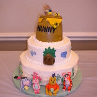 Pooh And Friends Baby Shower Cake My daughter's baby shower cake- Pooh and Friends, White cake on bottom with raspberry IMBC, Chocolate cake middle with peanut butter...