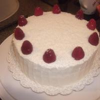 Lemon Raspberry Lemon Raspberry cake with white chocolate shavings