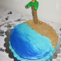 Beach  This was for my mom's 50th birthday. She loves the ocean. Fondant palm tree gave me a lot of problems. the trunk is fondant wrapped...