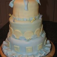 Tiered Baby Shower Cake Fondant covered baby shower cake, strawberry, yellow and chocolate cake flavors.