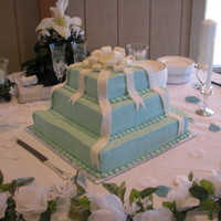Tiffany Color Theme Wedding Cake Fondany bow with bc icing for tiers.