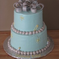 Baby Shower Silver and blue themed baby shower cake