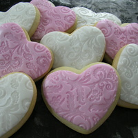 Valentine Heart Cookies! Rolled Buttercream with pearl airbrushing.