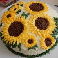Sunflowers Lush and creamy coconut frosting, decorated with bc sunflowers for my g-ma's bday