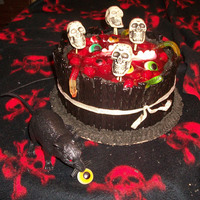 Spooky Cake  Barrel cake, licorice sides, cherry pie filling with a touch of cocoa added as blood and blood clots, gummy worms, gummy teeth, and gummy...