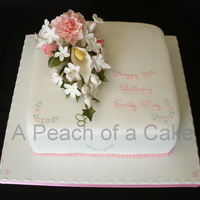 90Th Birthday The lady wanted a pretty pink cake. I made the flowers from flowerpaste