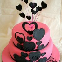 Pink & Black Engagement Cake Hearts made from mexican paste. I loved this cake when it was finished