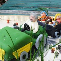 "Tractor And Trailer Birthday Cake made for ""grandpa"". This cake is inspired by an actual event where he took his grandchildren for a ride in the..."