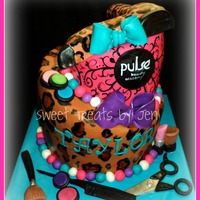Pulse Beauty Academy Graduation Cake   Hand painted details. Hair dryer was RKT the rest is all fondant decorations.
