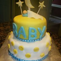 Baby Shower Cake gumpaste baby, blanket, letters, moon and starsquilt pattern with buttons on bottom