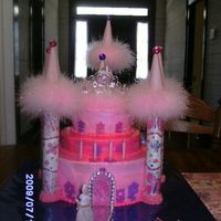 Princess Castle Made this for my granddaughter's 4th birthday. It had to be all pink and purple! Turrets are made with paper towel rolls and ice cream...