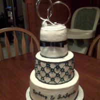 "Navy Blue Wedding small wedding cake, the 8"" is red velvet with cream cheese filling, the 6"" is marble with fudge filling and the 4"" is white..."
