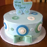 Welcome Bryce WASC cake with chocolate chip cookie dough filling. bow, carriage and trim are gumpaste, circles are MMF. TFL!!
