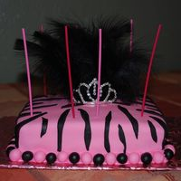 Pink And Zebra Print Cake With Tiera And Black Feathers I made this Pink and zebra print cake with tiera and black feathers for my friend's birthday 4-24-2009