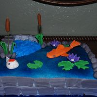 Another Koi Fish Pond Cake! I made this cake to raffle off at our Inland Koi Society meeting. 3-22-2009