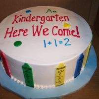 Off To Kindergarten Cake to celebrate pre-K graduation, each crayon had the kids names, thanks to the inspiration of the cakes here on CC!!