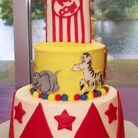 Circus Based on many of the photos here on CC, thank you. Buttercream icing, fondant animals were cut out and painted, triangles and stars are...