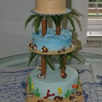 "Beach Reunion Family reunion at the beach, wanted somthing with a beach feel, the ""theme"" was palm trees. First attempt at this type of cake."