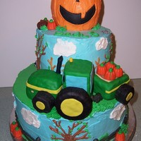 Halloween, Fall Cake This was actually a birthday cake, for a kid who loves tractors but his birthday falls around halloween.