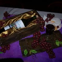 Wine Lover Cake Plastic Wine Glass Filled With Purple Gel. Gumpaste Leaves, Grape Vine, Plate, Napkin, Crackers & Brie. Real Grapes. Real Wine Bottle...