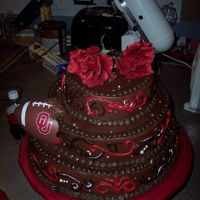Oklahoma Sooner Cake The Bride Wanted The Cake To Look Like A Football Was Thrown Into The Side Of The Groom's Cake. Silver Dragee's, Fudge...