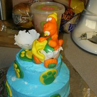 Ready To Hatch   white cake with buttercream frosting, dino ,eggshell and all accents done with mmftfl