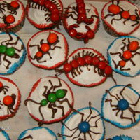Creepy Crawly Cup Cakes   white cake with whipped frosting...bugs are made of chocolate and m&m's