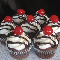 Sundae Cupcakes   Cupcakes made to look like a scoop of chocolate ice cream with whip cream, fudge, and a cherry.