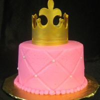 "Princess Mini Cake   4"" cake, buttercream icing, fondant crown with gold ""paint""."