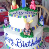 Jayden's Birthday Cake All Marble with Butter Cream filling and Frosting. Fondant and gumpaste mixed figures